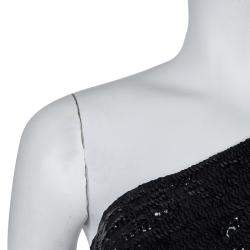 Elie Saab Black Sequin Embellished One Shoulder Top S