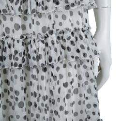 Elie Saab White Lace Detail Polka Dotted Tiered Sleeveless Gown M