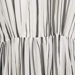 Elie Saab Monochrome Striped Silk Floral Print Halter Maxi Dress S