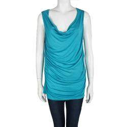 Elie Tahari Turquoise Blue Knit Cowl Neck Sleeveless Top L