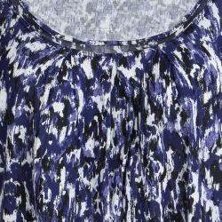 Elie Tahari Blue Printed Knit Long Sleeve Top S