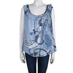 Elie Tahari Powder Blue Printed Cotton Ruffle Detail Sleeveless Top XL