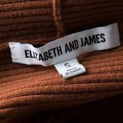 Elizabeth & James Brown Ribbed Knit Off Shoulder Marbella Dress S