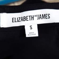 Elizabeth & James Navy Blue Stretch Ponte Knit Avita Crop Top S