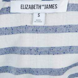 Elizabeth and James White and Blue Striped Peplum Top S