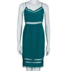 Elizabeth and James Sea Green Mesh Insert Sleeveless Dress XS
