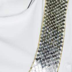 Emilio Pucci White Sequin Embellished Ruched Sleeveless Dress S
