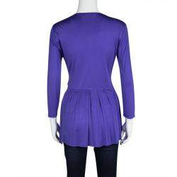 Emilio Pucci Blue Silk Jersey Twist Knot Front Long Sleeve Tunic M