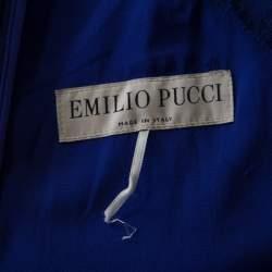 Emilio Pucci Purple Lace Yoke Peplum Detail Pencil Dress L