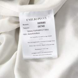Emilio Pucci Multicolor Printed Silk Jersey Draped Long Sleeve Dress M