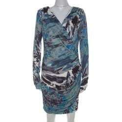 Emilio Pucci Multicolor Printed Silk Jersey Draped Long Sleeve Dress M