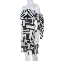 Emilio Pucci Monochrome Silk Chiffon Strapless Short Dress M