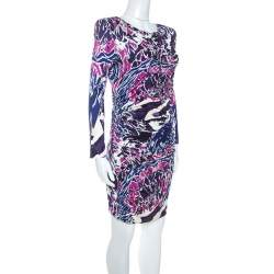 Emilio Pucci Multicolor Abstract Print Silk Jersey Ruched Detail Dress M