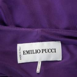 Emilio Pucci Purple Jersey Buckle Detail Ruched Waist Dress S