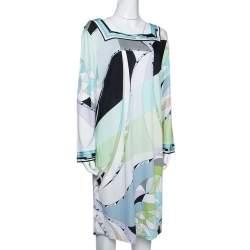 Emilio Pucci Multicolor Printed Jersey Shift Dress XL