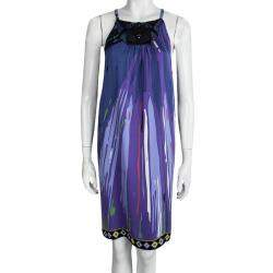 Emilio Pucci Purple Printed Silk Embellished Sleeveless Dress M