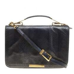 Emilio Pucci Dark Blue Snake Skin Leather Newton Shoulder Bag