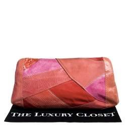 Emilio Pucci Orange/Pink Python/Lizard and Suede Patchwork Clutch