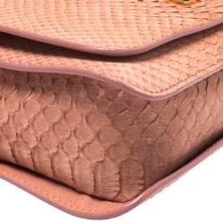 Emilio Pucci Coral Snakeskin Effect Leather Flap Shoulder Bag