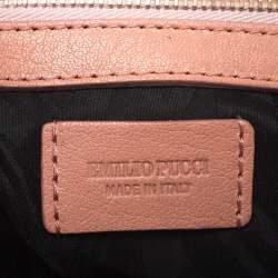 حقيبة كتف إيميليو بوتشي جلد برتقالي نقشة الثعبان بقلاب
