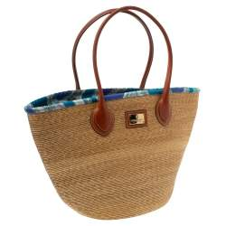 Emilio Pucci Beige/Brown Raffia and Leather Shopper Tote