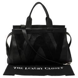 Emilio Pucci Black Leather, Suede and Calfhair Tote