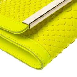Emilio Pucci Neon Green Python and Leather Metal Bar Flap Clutch