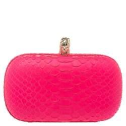 Emilio Pucci Neon Pink Python Eagle Box Clutch