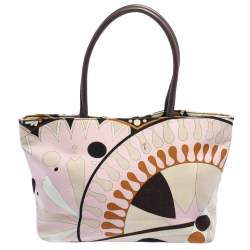 Emilio Pucci Multicolor Printed Canvas and Leather Tote