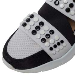 Emilio Pucci Black/White Fabric And Leather City Up Studded Low Top Sneakers Size 38