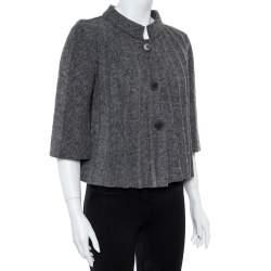 Emporio Armani Grey Wool Pleated Cape Jacket L