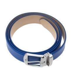 Emporio Armani Royal Blue Leather Buckle Belt