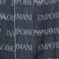 Emporio Armani Grey Jacquard Logo Patterned Stole
