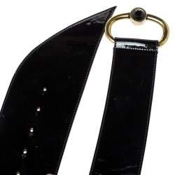 Emporio Armani Black Patent Leather Wide Belt 85CM