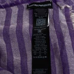 Emporio Armani Purple Striped Monogram Jacquard Cotton & Modal Scarf