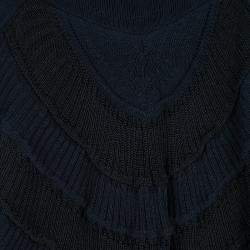 Emporio Armani Navy Blue and Black Striped Chunky Knit Sleeveless Tunic S