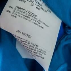 Emporio Armani Blue Embroidered Cotton and Silk Sleeveless Peplum Top  S