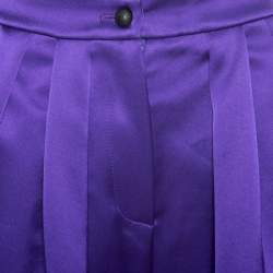 Emporio Armani Purple Satin Pleated Wide Leg Pants S