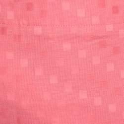 Emporio Armani Pink Geometric Pattern Cotton and Linen Pleated Hem Skirt L
