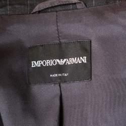 Emporio Armani Grey Striped Wool Double Breasted Blazer M