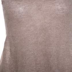 Emporio Armani Dusky Pink Silk Insert Crochet Knit Top XS
