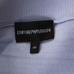 Emporio Armani Lilac Rib Knit Bow Detail Zip Front Cardigan S