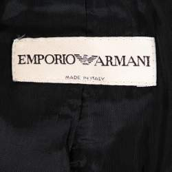 Emporio Armani Charcoal Grey Textured Crepe Fitted Blazer S