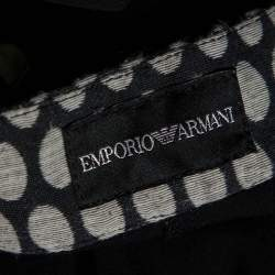 Emporio Armani Black Wool Dotted Waist Detail Trousers M
