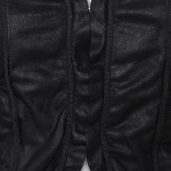 Emporio Armani Black Leather Ruffled Crop Jacket M