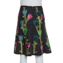 Emporio Armani Grey Wool Floral Appliqued A-Line Skirt M