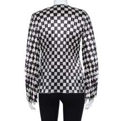 Emporio Armani Monochrome Checkered  Plisse Lightweight Jacket M