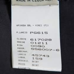 Emporio Armani Black Faille Ruffled Midi Skirt S
