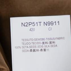 Emporio Armani Metallic Brown Silk Elastic Detail Cropped Pants M