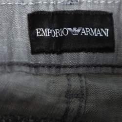 Emporio Armani Grey Cotton 5 Pocket Detail Tapered Leg Trousers L